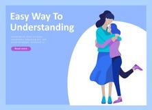 Προσγειωμένος πρότυπα σελίδων για τη θετική ψυχολογία, οικογενειακή ψυχοθεραπεία ομάδας Ο ευτυχής χαρακτήρας φίλων έχει το θετικό απεικόνιση αποθεμάτων