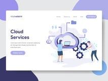 Προσγειωμένος πρότυπο σελίδων της έννοιας απεικόνισης υπηρεσιών σύννεφων Σύγχρονη επίπεδη έννοια σχεδίου του σχεδίου ιστοσελίδας  διανυσματική απεικόνιση
