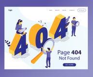 404 προσγειωμένος σελίδα όπου το σχέδιο παρουσιάζεται ότι οι άνθρωποι έχουν έρθει σε μια λανθασμένη σελίδα της Isometric έννοιας  ελεύθερη απεικόνιση δικαιώματος