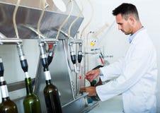 Προσεκτικό άτομο που κάνει τις δοκιμές στο manufactory εργαστήριο κρασιού Στοκ Φωτογραφίες