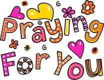 Προσευμένος για σας την έκφραση κειμένων κινούμενων σχεδίων Στοκ εικόνα με δικαίωμα ελεύθερης χρήσης