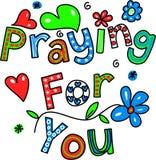 Προσευμένος για σας την έκφραση κειμένων κινούμενων σχεδίων Στοκ Εικόνα