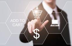 Προσθέστε στο κατάστημα Ιστού Διαδικτύου κάρρων αγοράζει τη σε απευθείας σύνδεση έννοια ηλεκτρονικού εμπορίου Στοκ Φωτογραφίες