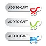 προσθέστε τις αγορές αντικειμένων κάρρων κουμπιών Στοκ φωτογραφία με δικαίωμα ελεύθερης χρήσης