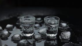 Προσθέστε τους κύβους πάγου στον πυροβολισμό της βότκας στο γυαλί στο μαύρο κλίμα Ποτό οινοπνεύματος απόθεμα βίντεο