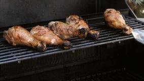 Προσθήκη της γεύσης στα τυμπανόξυλα κοτόπουλου απόθεμα βίντεο
