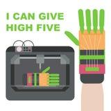Προσθετικό χέρι - που γίνεται από τον τρισδιάστατο εκτυπωτή Το πλαστικό χέρι μπορεί να δώσει υψηλά πέντε διανυσματική απεικόνιση