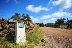 Προσκυνητές στο Camino de Σαντιάγο, Ισπανία, τρόπος στο Σαντιάγο Στοκ Εικόνες