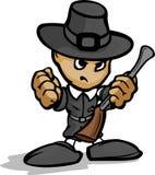 Προσκυνητής σκληρών ανδρών με το πυροβόλο όπλο και καπέλο γραφικό απεικόνιση αποθεμάτων
