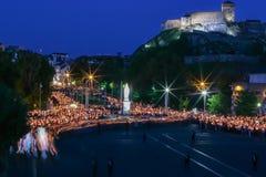 Προσκύνημα σε Lourdes - νύχτα Στοκ φωτογραφία με δικαίωμα ελεύθερης χρήσης