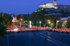 Προσκύνημα σε Lourdes - νύχτα Στοκ φωτογραφίες με δικαίωμα ελεύθερης χρήσης