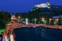 Προσκύνημα σε Lourdes - νύχτα Στοκ εικόνες με δικαίωμα ελεύθερης χρήσης