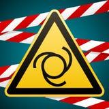 Προσοχή - κίνδυνος Αυτόματη έναρξη του εξοπλισμού περισσότερο η προειδοποίηση σημαδιών σημαδιών χαρτοφυλακίων μου κίτρινο τρίγωνο διανυσματική απεικόνιση