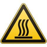 Προσοχή - κίνδυνος Καυτή επιφάνεια περισσότερο η προειδοποίηση σημαδιών σημαδιών χαρτοφυλακίων μου Κίτρινο τρίγωνο με μια μαύρη ε απεικόνιση αποθεμάτων
