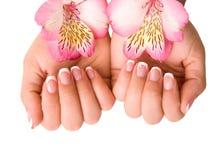 Προσοχή καρφιών για τα χέρια των γυναικών Στοκ Φωτογραφία