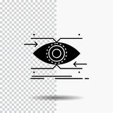 προσοχή, μάτι, εστίαση, κοίταγμα, εικονίδιο Glyph οράματος στο διαφανές υπόβαθρο r ελεύθερη απεικόνιση δικαιώματος
