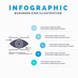 προσοχή, μάτι, εστίαση, κοίταγμα, πρότυπο Infographics οράματος για τον ιστοχώρο και παρουσίαση Γκρίζο εικονίδιο GLyph με μπλε in ελεύθερη απεικόνιση δικαιώματος