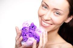 Προσοχή λουλουδιών, πρόσωπο καλλυντικών φροντίδας δέρματος Στοκ Εικόνα