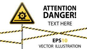 Προσοχή, τέμνοντες άξονες Σήμανση ασφάλειας Σημάδι στον πόλο με τις κορδέλλες Κίτρινο τρίγωνο, στυλοβάτης μετάλλων, προστατευτικέ ελεύθερη απεικόνιση δικαιώματος