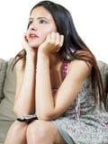 προσοχή TV κοριτσιών Στοκ εικόνα με δικαίωμα ελεύθερης χρήσης