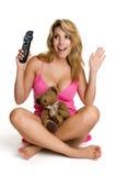 προσοχή TV κοριτσιών Στοκ Εικόνα