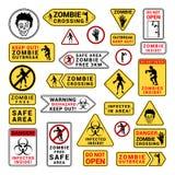 Προσοχή Zombie beware και σύνολο σημαδιών προσοχής απεικόνιση αποθεμάτων