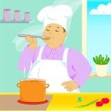προσπάθεια σούπας μαγείρ διανυσματική απεικόνιση