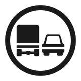 Προσπέραση της απαγόρευσης για το εικονίδιο σημαδιών απαγόρευσης φορτηγών ελεύθερη απεικόνιση δικαιώματος