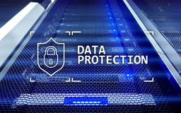 Προστασία δεδομένων, ασφάλεια Cyber, ιδιωτικότητα πληροφοριών Διαδίκτυο και έννοια τεχνολογίας Υπόβαθρο δωματίων κεντρικών υπολογ στοκ εικόνες