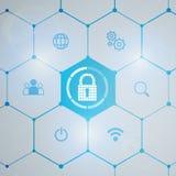 Προστασία δικτύων Cybersecurity και πληροφοριών απεικόνιση αποθεμάτων