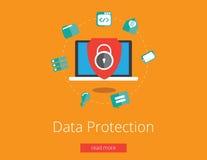 Προστασία δεδομένων και ασφαλής εργασία Επίπεδο διάνυσμα σχεδίου Στοκ φωτογραφία με δικαίωμα ελεύθερης χρήσης