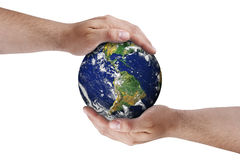 Προστασία του περιβάλλοντος γήινων χεριών που απομονώνεται στοκ εικόνες με δικαίωμα ελεύθερης χρήσης