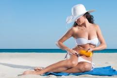προστασία sunbath Στοκ Εικόνες