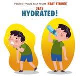 Προστατευθείτε από το κτύπημα θερμότητας, παραμονή που ενυδατώνεται διανυσματική απεικόνιση