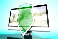 Προστατευμένη και προστατευμένη όλοι σε έναν υπολογιστή ελεύθερη απεικόνιση δικαιώματος