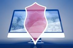 Προστατευμένη και προστατευμένη όλοι σε έναν υπολογιστή Στοκ εικόνες με δικαίωμα ελεύθερης χρήσης