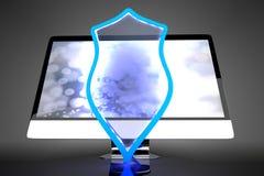 Προστατευμένη και προστατευμένη όλοι σε έναν υπολογιστή Στοκ Εικόνες