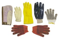 Προστατευτικά γάντια τύποι, που απομονώνονται πολλαπλάσιοι, με το ψαλίδισμα της πορείας στοκ φωτογραφία