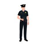 προστατεύστε εξυπηρετ&epsil Άτομο αστυνομίας, αρσενική, διανυσματική απεικόνιση ανώτερων υπαλλήλων διανυσματική απεικόνιση