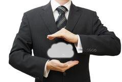 Προστατεύστε την έννοια στοιχείων πληροφοριών σύννεφων. Προστασία και ασφάλεια Στοκ Εικόνα