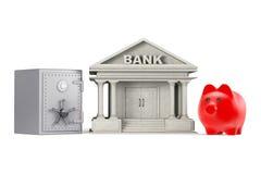 Προστατεύστε την έννοια χρημάτων Τράπεζα Piggy, χρηματοκιβώτιο και κτήριο τράπεζας Στοκ Φωτογραφία