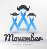 Προστατικός καρκίνου μήνας Νοέμβριος κορδελλών συνειδητοποίησης μπλε Στοκ Εικόνες