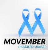 Προστατικός καρκίνου μήνας Νοέμβριος κορδελλών συνειδητοποίησης μπλε για το έμβλημα αφισών καρτών για το movember, Στοκ φωτογραφίες με δικαίωμα ελεύθερης χρήσης