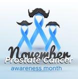 Προστατικός καρκίνου μήνας Νοέμβριος κορδελλών συνειδητοποίησης μπλε για το έμβλημα αφισών καρτών, Στοκ φωτογραφία με δικαίωμα ελεύθερης χρήσης