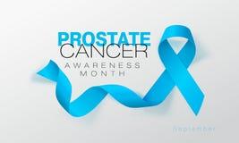 Προστατικό σχέδιο αφισών καλλιγραφίας συνειδητοποίησης καρκίνου Ρεαλιστική ανοικτό μπλε κορδέλλα Σεπτέμβριος είναι μήνας συνειδητ διανυσματική απεικόνιση