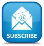 Προσυπογράψτε (εικονίδιο ηλεκτρονικού ταχυδρομείου ενημερωτικών δελτίων) το ειδικό κυανό μπλε τετραγωνικό butto ελεύθερη απεικόνιση δικαιώματος