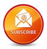 Προσυπογράψτε (εικονίδιο ηλεκτρονικού ταχυδρομείου ενημερωτικών δελτίων) το ειδικό υαλώδες πορτοκαλί στρογγυλό κουμπί απεικόνιση αποθεμάτων