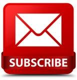 Προσυπογράψτε (εικονίδιο ηλεκτρονικού ταχυδρομείου) την κόκκινη κορδέλλα κουμπιών κόκκινων τετραγώνων στη μέση διανυσματική απεικόνιση