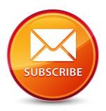 Προσυπογράψτε (εικονίδιο ηλεκτρονικού ταχυδρομείου) το ειδικό υαλώδες πορτοκαλί στρογγυλό κουμπί διανυσματική απεικόνιση