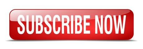 προσυπογράψτε τώρα το απομονωμένο κουμπί Ιστού κόκκινων τετραγώνων Στοκ Εικόνες